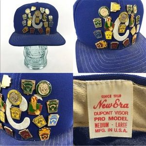 Vtg Snapback Hat 18 Senior Little League Pinbacks